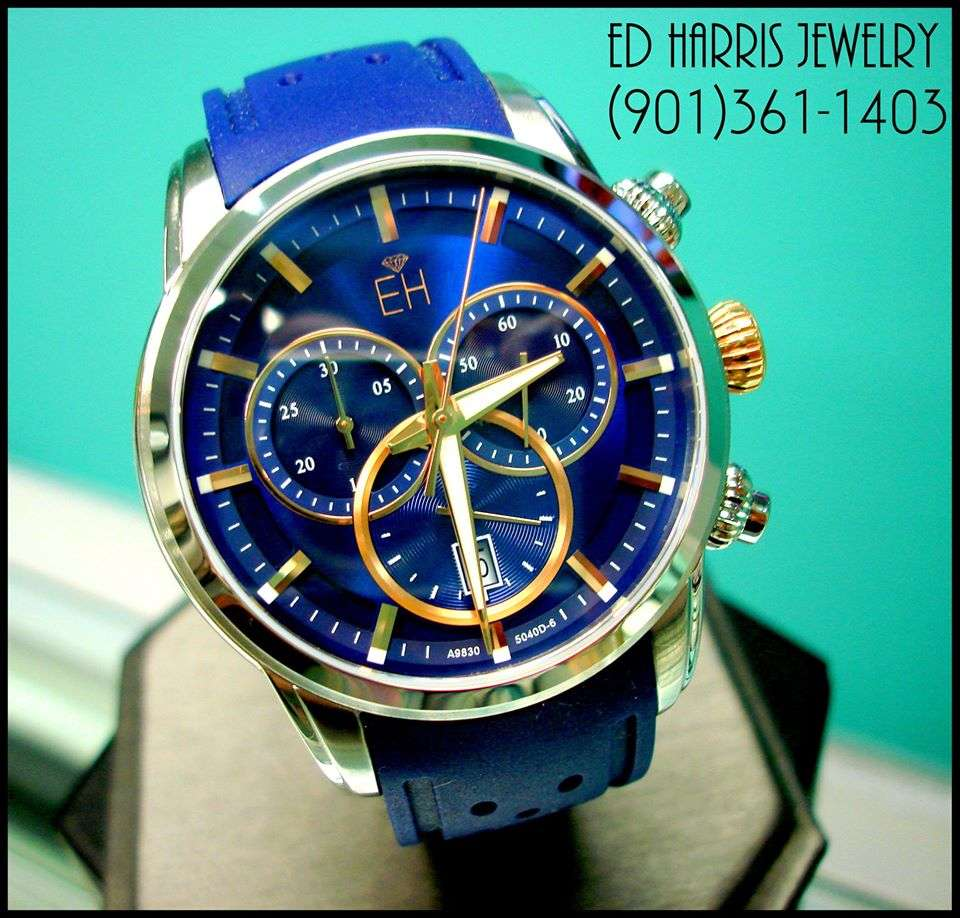 Sapphire Crystal (Scratch Resistant), Luminous Hands, Water Resistant (330 Feet),Swiss Chronograph, Rubber Strap., Stainless Steel, Swiss Quartz Accuracy. Sale Price: $375.00 (Black Leather Watch Case and 3 Year Warranty Included) — at Ed Harris Jewelry.