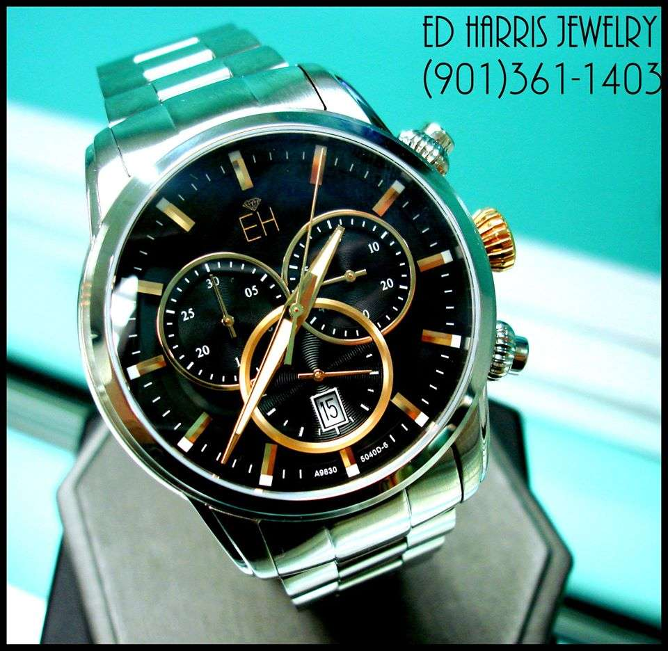 Sapphire Crystal (Scratch Resistant), Luminous Hands, Water Resistant (330 Feet), Swiss Chronograph, Stainless Steel. Sale Price: $395.00 (Black Leather Watch Case and 3 Year Warranty Included). — at Ed Harris Jewelry.