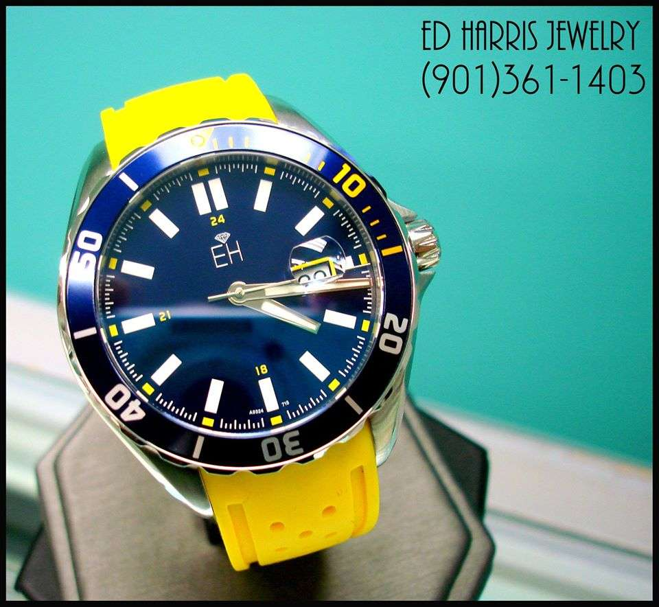 Swiss quartz movement, 10ATM, Stainless Steel Case, One-directional rotating diver bezel, Screw down diver crown, Luminous hands and dial, genuine Sapphire Crystal with lens. Sale Price: $250.00 (Black Leather Watch Case and 3 Year Warranty Included). Ed Harris Jewelry (901)361-1403 #GoGrizz — at Ed Harris Jewelry.