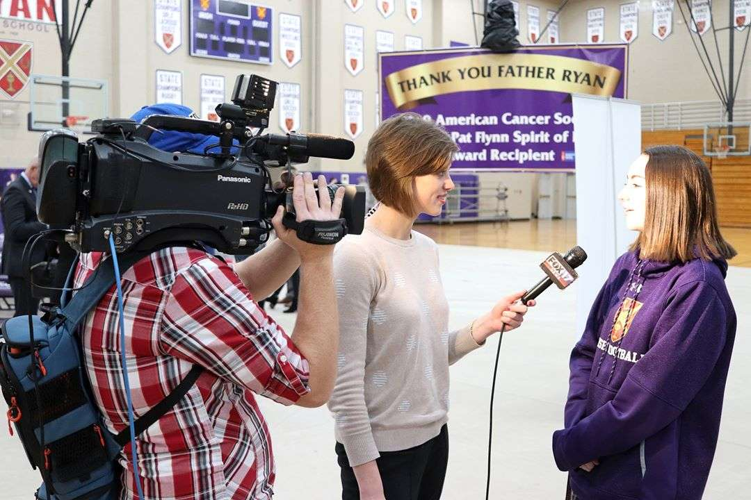 Madison Ahern speaking with FOX 17